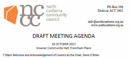 Next Meeting NCCC – 18 Oct 17